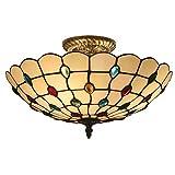OOFAY Lights Tiffany Style 12 Zoll Deckenleuchten, Rustikales Glas E27 Edison Deco Deckenleuchte Mit Edelsteinen Schatten Für Schlafzimmer, Flur, Wohnzimmer 220V Max. 60W,30Cm