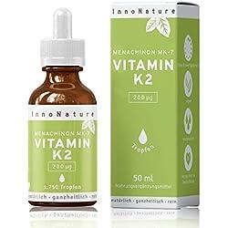 Vitamin K2 MK7 (Menachinon) 1.750 Tropfen (200µg pro Portion) in 50ml Flasche. Premium Gnosis VitaMK7. Olivenöl mit Menaquinon aus Fermentation >99% All-Trans. Hochdosiert, vegan & hergestellt in DE.