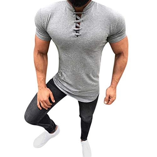 friendGG Herren Sommer T-Shirt Slim Fit Basic MäNner Shirts Sweatshirt Kurzarm Pullover Rundhals Ausschnitt Fashion Solid Stehkragen Drawstre Fitness Casual Top Herren Bluse Wolverine Ridge