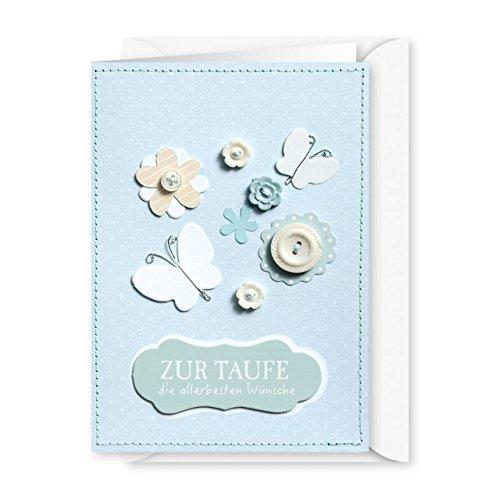 Knopfkarte 35 - Zur Taufe die allerbesten Wünsche - Babykarte
