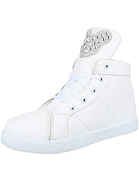 Freizeit Turnschuhe/Sneakers Kinder Schuhe Mädchen Reißverschluss Ital-Design Freizeitschuhe