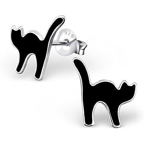 Plateado auriculares gato negro - 925 plata pendientes conector lacado 11 x 11 mm gatos #SV-193-S