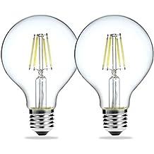Luohaoshi Vintage regulable 4 W G80 E27 rosca Edison bombillas LED, Igual a 40 W bombilla incandescente, 400 lm, blanco cálido, 2700 K, 220 - 240 V AC, pack de 2 unidades