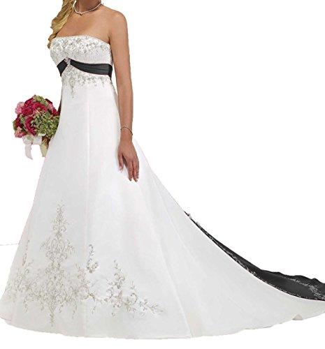 O.D.W Handgefertigt Damen Gestickt Lange Vintage Hochzeitskleider A-Linie Gotisch Mehrfarbig...
