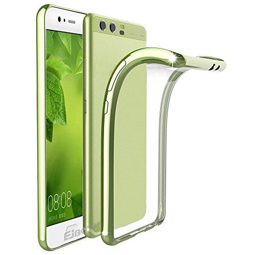 Huawei P10 Plus Custodia Protettivo, EJBOTH TPU Copertura morbido Caso Cristallo Trasparente Cover di protezione Silicio - Anti Scivolare Graffiare Fondello protettore completa [ Verde ]