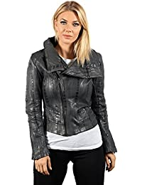 Ladies Short Retro Grey Croc Removable Zip Neck Leather Biker Jacket