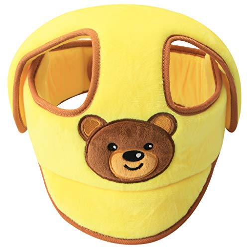 KAKIBLIN Baby-Schutzhelm, Kopfschutz für Kleinkinder, atmungsaktiver Kopfschutz, verstellbare Schutzkappe für Kinder zum Laufen, gelb