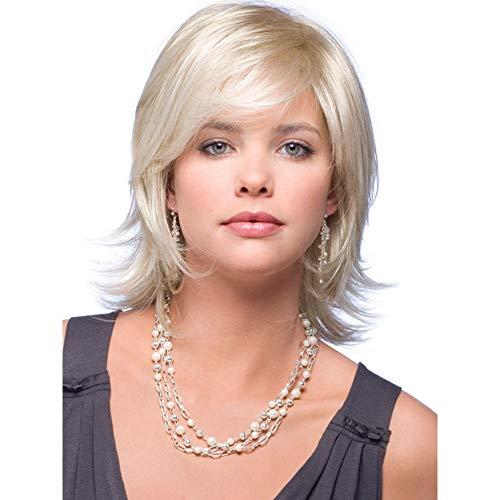 Support-200 Caps (MAGAI Hellblonde Bob-Perücken für Frauen Seite gekämmt Ombre Blonde Perücke mit freiem Cap (Farbe : Light blonde))