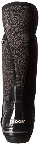 Bogs Plimsoll Quilted Floral Tall Womens Wellies Black