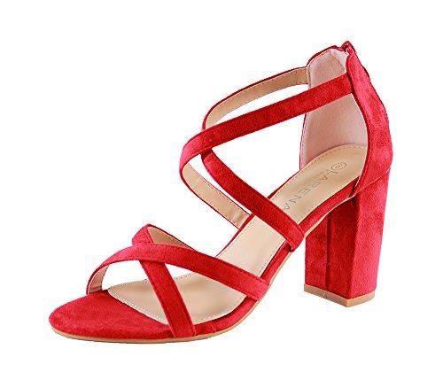 09d08b8fed7 Larena Fashion New Womens High Block Heel Sandals Zip Ankle Cross Strap ...