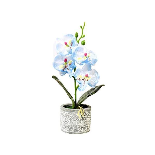 pushfocourag Plantas Artificiales 1Pc Flor Artificial Mariposa Orquídea Cemento Maceta Bonsái Hogar Jardín Fiesta Decoración Amarillo