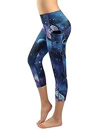 Munvot Legging Capri Pantacourt de Sport Femme Coupe Genoux Amincissant -  avec Poche Yoga Fitness Jogging 9f8d24a2942
