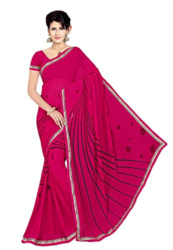 Saree ( Georgette Rani color printed saree )  available at amazon for Rs.577