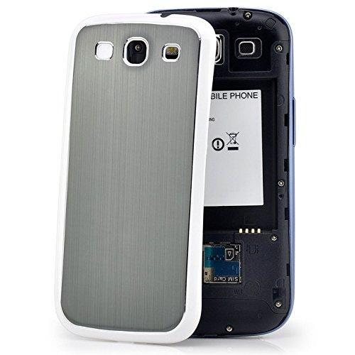 Saxonia Samsung Galaxy S3 Hülle Brushed Aluminium Case Slim Back Cover Schutzhülle Schwarz