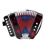 Toyvian Fisarmonica per Bambini con 10 Tasti Percussioni Pianoforte Giocattolo Musicale per Bambina (Nero)