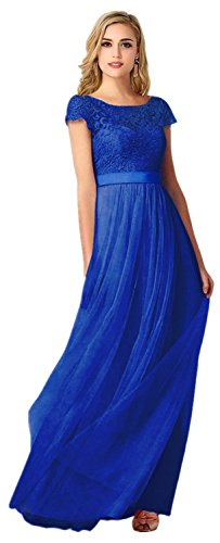 Babyonline Damen Royal Blaues Kleid Spitze Tüll Chiffon Schleife Schärpe/Band Abendkleid Lang 34