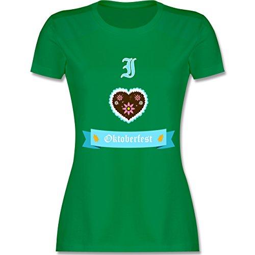 Shirtracer Oktoberfest Damen - I Love Oktoberfest - Damen T-Shirt Rundhals Grün