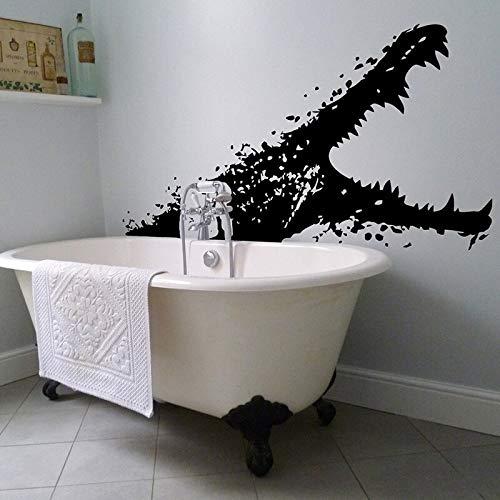 Shentop Vinyl Wandtattoo Alligator Mit Offenem Mund Meerestier Bad Kunstwanddekor Aufkleber Scary Crocodile Bath Wandbild 57 * 146 cm (Alligator-wandtattoo)