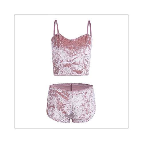 Women's Solid Underwear Sexy Lingerie Pajamas Velvet Crop Tops Bralette Panty Sets Pink L