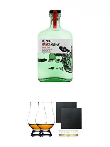 Mezcal Marca Negra - Tobala - 49{3d3dec2b6e7d398b78faf6f295fb5204b6a041271169b4df7807186af5247b5a} 0,7 Liter + The Glencairn Glas Stölzle 2 Stück + Schiefer Glasuntersetzer eckig ca. 9,5 cm Ø 2 Stück