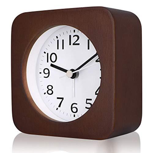 OMJNH Protokoll Wecker, Nickerchen Massivholz Uhr, Nachtlicht, Mini-Wecker, Holz leise Uhr, geeignet für den Einsatz Arbeitszimmer, Büro, Schlafzimmer, Küche,1 -