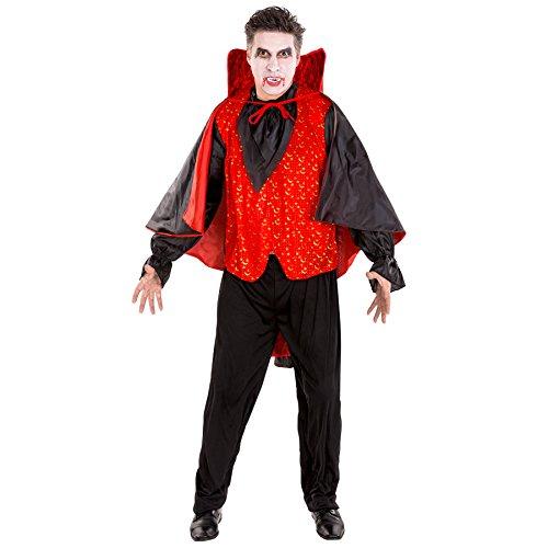 Aufwendiges Graf Dracula Vampir Kostüm Herrenkostüm inkl. Blouson, schwarze Leggins & großem Umhang zum Binden (XL | Nr. 300172) (Tag Der Toten Tracht)