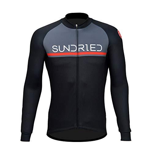 Sundried Manga Larga para Hombre Jersey de Ciclo Bici del Camino de MTB Ropa de la Bicicleta (Negro, XL)