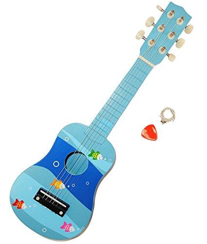 Eine Breite Von Sechs Tier (Unbekannt Gitarre - aus Holz / incl. Plektrum - Fische blau - stimmbar - Kindergitarre für Kinder - Spielzeuggitarre für Jungen Mädchen / Tiere - Tiermotiv - Fisch / 6 ..)