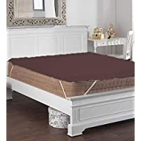 Jaipur Linen 500GSM Hollow Fibre Mattress Padding/Topper Brown for Single Bed-36 Inch X 72 Inch