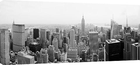 MOOL 42 x 20-inch Black and White New York City Manhattan Skyline Canvas Wall Art Print