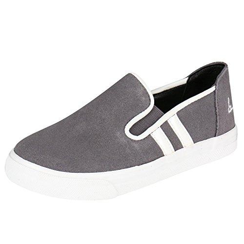 Kentti Unisex-Kinder Jungen und Mädchen Slip-On Low-Top Sneaker Grau 34 EU