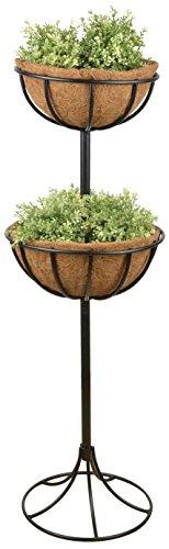 Esschert Design Blumenampel mit Metallgestell, 36 x 36 x 102 cm, mit 2 Kokoseinlagen, stehend und einzeln, Gartendekoration