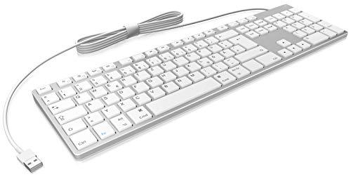 KeySonic Tastatur mit Kabel für Apple Mac, USB-C und USB, Aluminium mit Weißen Tasten, MacOS, flach