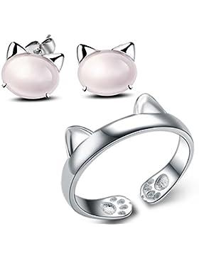 Katze ringe damen set- 925 Silber überzogen Verstellbar Katze Ohrstecker Für Damen