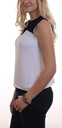 Madonna Top Damen RUBY Passe aus Spitze Ärmelloses Trägertop MF-406992 Weiß