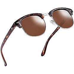 Aisprts Gafas de sol polarizadas retro medio marco clásico para Hombre y Mujer (Marrón)