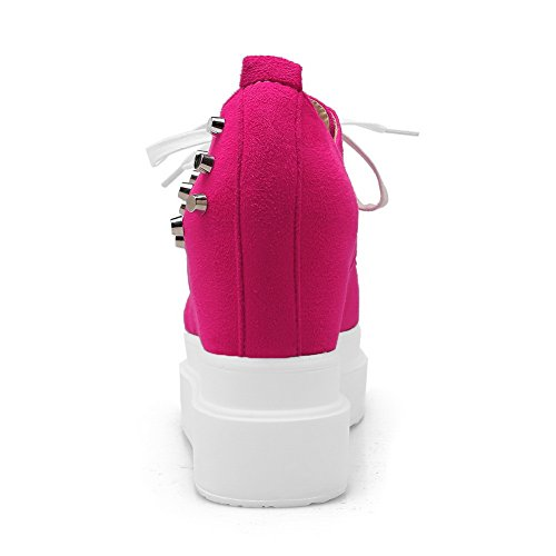 BalaMasa borchie rivetti, piuttosto-Up interno in pizzo High Heels Imitated pompe-Scarpe da uomo in pelle scamosciata Rosso (Pesca)