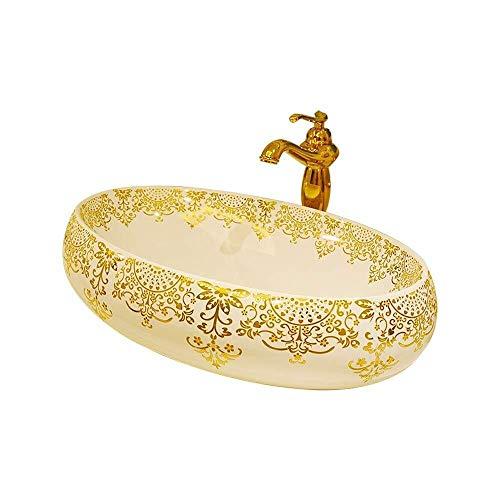 Zxf lavandino di ceramica dei bagni, lavandino del lavandino del bagno dipinto a mano di ceramica, lavandino del vaso ovale, 60x40x15 cm (rubinetto non incluso) modo comodo