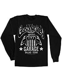 Mercancía Con Licencia Oficial Gas Monkey Garage - American Engine Manga Larga Camiseta (Negro)