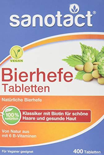 sanotact Bierhefe Tabletten - 400 Stk., Nahrungsergänzungsmittel mit 6 B-Vitaminen, vegan, 100{09b4c41d82a0d19aa96326d729be672a42ce490fd1afb29857fb94e5fc4162c0} natürlich