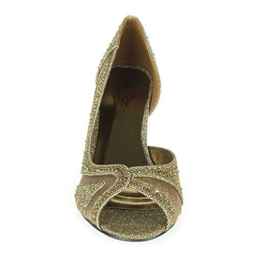 Frau Damen Strass Schimmer Seite Schnitt Peep Toe Mittlere Absatz Abend Hochzeit Party Prom Sandalen Schuhe Größe Braun.