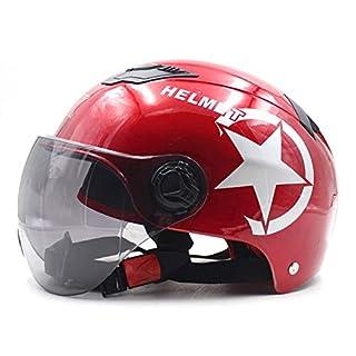 WYFDM Half Face Motorradhelm Mit Sonnenblende - Atmungsaktiv Und Sicherheit Geeignet Unisex Verwendung,Red