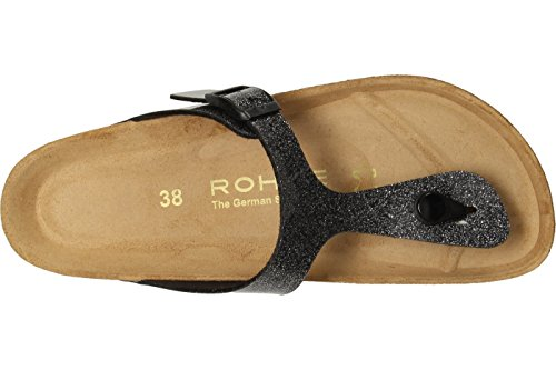 Rohde Riesa 5628 Damen Sandale Zehentrenner 88 Silber Schwarz meliert Silbertöne
