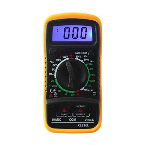 XL830L multímetro digital , retroiluminación LCD , instrumento medición corriente, voltímetro AC / DC, Amperímetro DC, ohmímetro, diodos, triodo, fusible reajustable (Amarillo)