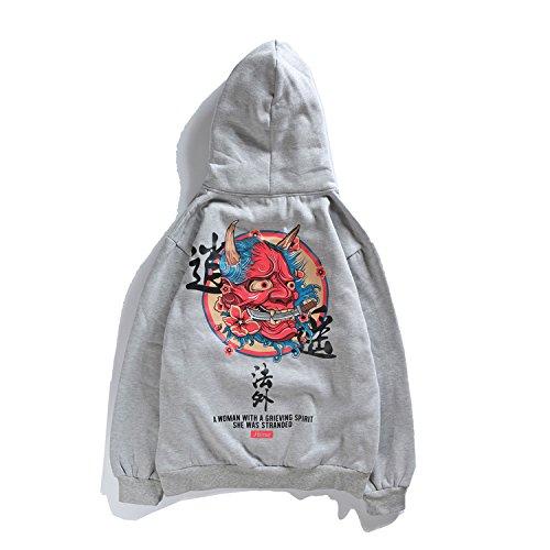 NZSYZXYD Jacket Neue Pullover 2018 Herbst Winter Männer Pullover Hoodie Samt Maske Gedruckt Jacke, Grau und Kaschmir, L (Neue Samt-blazer)