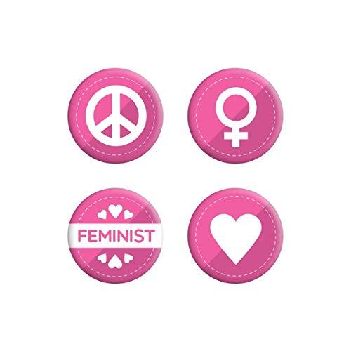 Grindstore - Paquete de chapas estilo feminista (Tamaño Único) (Rosa)