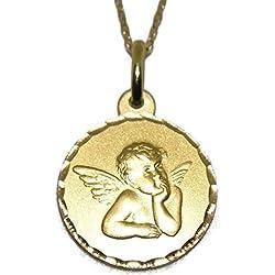 Never Say Never Medalla para bebé de Oro Amarillo de 18ktes de 1.6cm de diametro y Cadena de 40cm