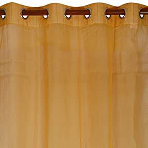 Swadeshi Store Handloom Cotton Single Piece Ready Door Sheer Curtain-90 IN x 44 IN, Yellow & Lime