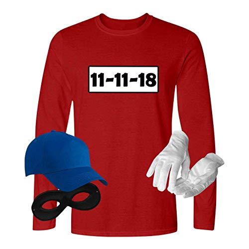 Shirt Gangster Für Kostüm Erwachsene - Panzerknacker Longsleeve Kostüm-Set Wunschnummer Karneval JGA Herren XS-5XL Gangster Verkleidung Fastnacht, Größe:M, Logo & Set:11.11./Set komplett (11.11.XX/Shirt+Cap+Maske+Handschuhe)