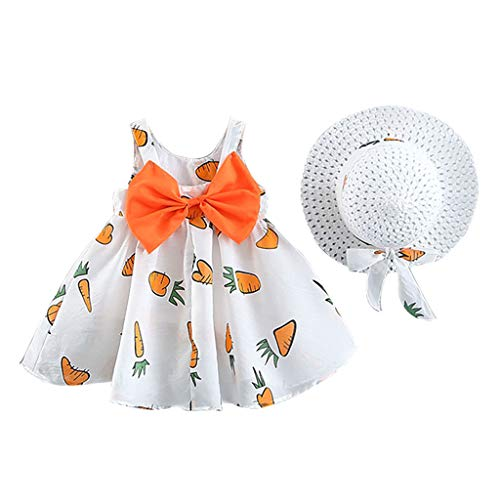 Livoral Mädchen Obst Karotten Print Prinzessin Kleid + Hut Kind Baby Print Bow Casual Set(Orange,100)